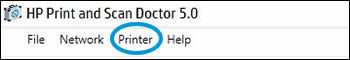 Click Printer in the HP Print and Scan Doctor window.
