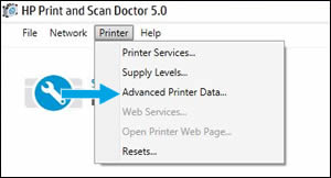 Click Advanced Printer Data in the drop-down menu.