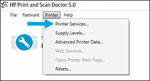 Click Printer Services in the drop-down menu