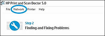 Click Network in the HP Print and Scan Doctor window.