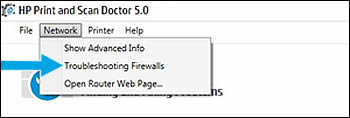 Click Troubleshooting Firewalls in the drop-down menu.